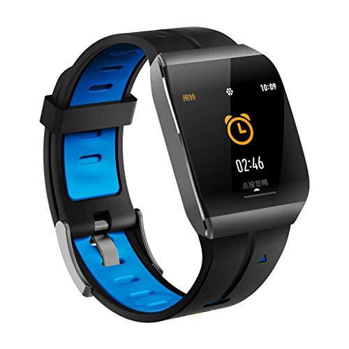 CAOQAO - Reloj de Hombre Mujer Monitor de presión Arterial de Ritmo cardíaco para Reloj Deportivo a Prueba de Agua para iOS Android iPhone Samsung (Free Size, Azul)