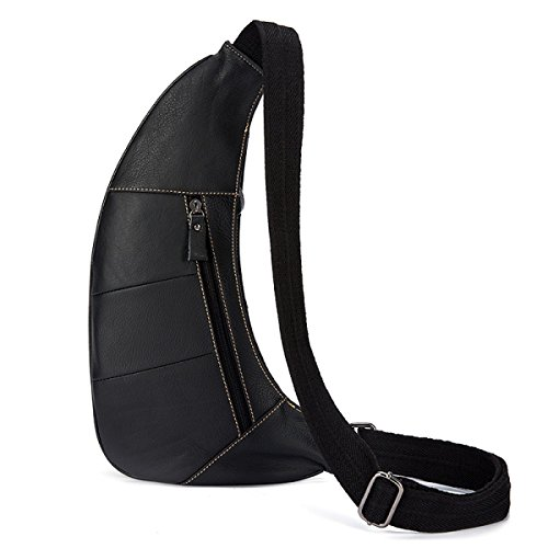 Herren Leder Retro Brust Schulter Messenger Bag Ledertasche,Black Black