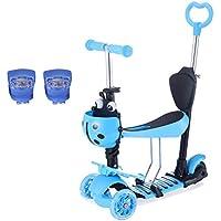 Yorbay 3-in-1 Kinder Scooter Roller, Walker Trole Scooter Infantil, 3 Ruedas, LED, Altura Ajustable, Azul, 60x55x25cm