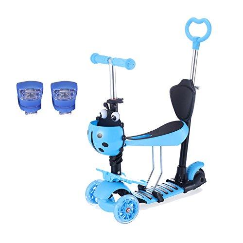 Yorbay Kleinkinder Kinder Scooter Roller 3-in-1 3 Räder Mini Kinderscooter Kinderroller Kinder Tretroller mit Abnehmbarem Sitz Leuchtrollen und Verstellbare Lenker für Jungen Mädchen ab 1 Jahre (Blau) (Kleinkind-jungen-scooter)
