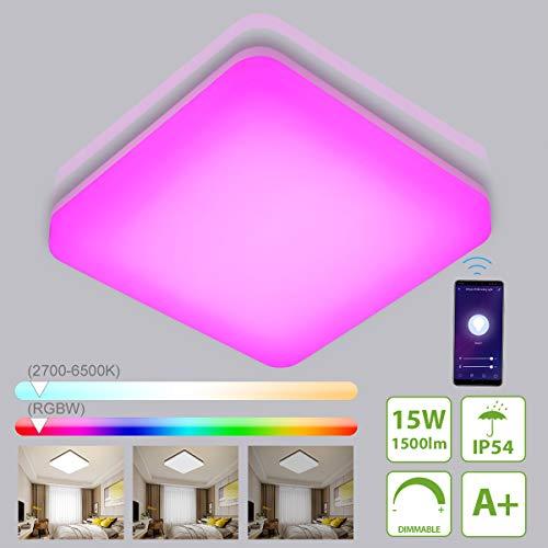 Smart LED Deckenleuchte Dimmbar, 15W 1500LM IP54 LED Deckenlampe, Wifi RGB Farbwechsel Lampe für Kinderzimmer, Wohnzimmer, Schlafzimmer, Sprachsteuerung(Alexa, Google Assistant) oder App-Steuerung.