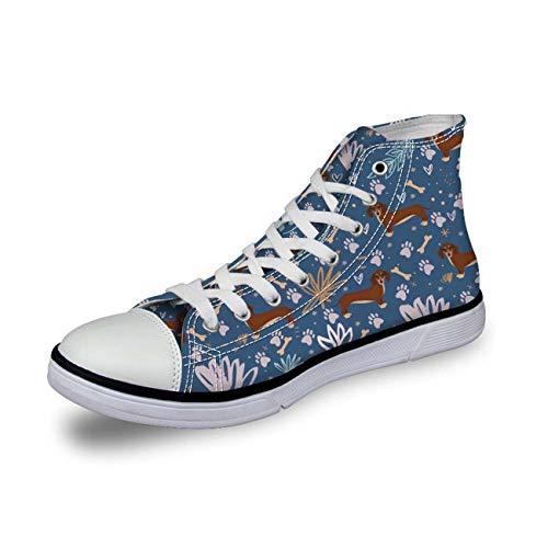 Women High Top Canvas Shoes Fashion Dachshund Sport Sneakers Flats Running Shoes Dachshund 4 UK 6\u002FEU39