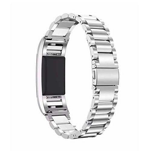 Per Fitbit Charge, 2bande Loop cinturino braccialetto in acciaio inox con unico magnete Lock, non necessita di fibbia per Fitbit Charge 2HR Fitness Tracker