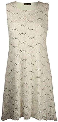 Mesdames Femmes Plus Size Lace Sequin Party Peplum Top ou Robe Tailles 40-56 Robe - Crème