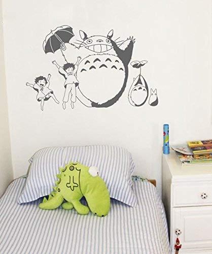 Cheer Totoro und Mädchen Art Wand Baby Kinderzimmer Wandtattoo 90x 60cm Abnehmbare Vinyl Anime Totoro Silhouette Wandbild Japanisch Grau