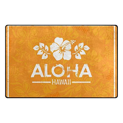 DEZIRO Retro Aloha Hawaii Fußmatten für Hauseingangs-Bereich Teppich Fußmatte Teppich Schuhe Schaber Anti-Rutsch waschbar, Polyester, 1, 60 x 39 inch