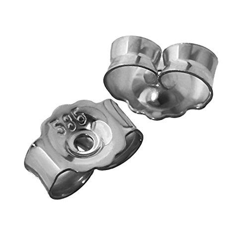 NKlaus 1 Paar 585 Weißgold Gegenstecker Ohrstecker Ohrstopper Loch 0,8mm Ohrmutter 4823