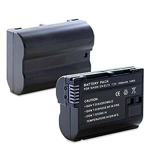 Fosmon Replacement EN-EL15 Li-Ion Battery Pack for Nikon D7000/D7100/D600/D800/D800E/1 V1 DSLR Cameras