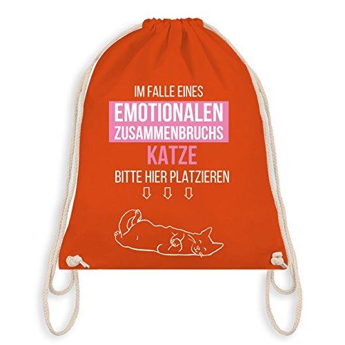 Statement Shirts - Im Falle eines emotionalen Zusammenbruchs Katze hier platzieren - Unisize - Orange - WM110 - Turnbeutel I Gym Bag