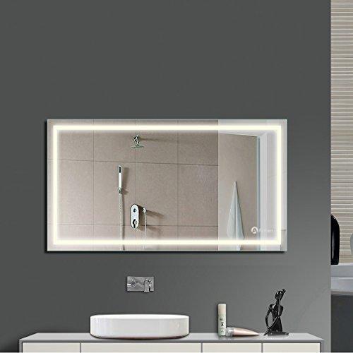 Anten Espejo de baño para tocador y espejo Espejo de baño con iluminación LED / espejo de pared Grande / espejo de luz / espejo Baño 23W Neutral blanco 4000k AC110-240V: con interruptor, taladrado, montaje en pared