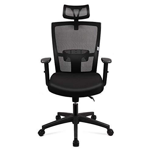 mfavour Bürostuhl, Ergonomisch Schreibtischstuhl Computer Stuhl drehstuhl mit Netz-Design-Sitzkissen, Verstellbare Wippfunktion, Armlehne, Sitzhöh, Kopfstütze Maximale Belastbarkeit 120 kg, schwarz