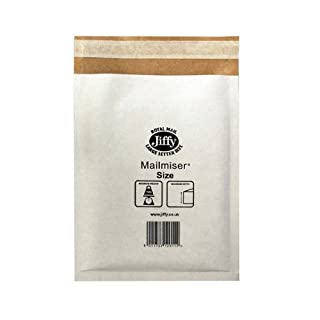 Jiffy Airkraft Lightweight Postal Bag for A7 Box of 150 - Size 000, White, 90 x 145mm