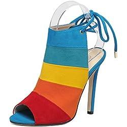Schiveen Damen Peeptoe Stiletto Sandalette (40, Blau)