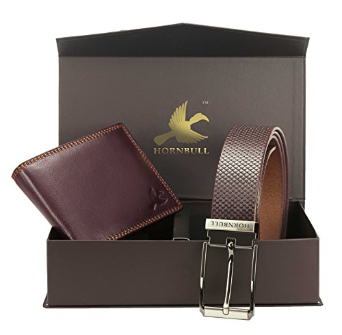 hornbull men's brown wallet and belt combo Hornbull Men's Brown Wallet and Belt Combo 41tqkafPOdL