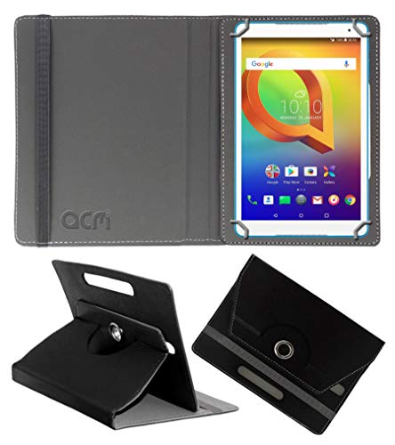 Acm Rotating Leather Flip Case Compatible with Alcatel A3 10 (Volte) Tablet Cover Stand Black