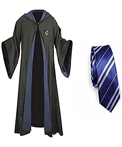 Harry Potter Gryffindor Slytherin Ravenclaw Hufflepuff Adult Fancy Robe Cloak Costume And Tie (Small, Ravenclaw (Harry Potter Umhang)