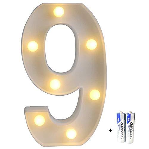 r Alphabet, LED Brief Licht, Led dekoration für Geburtstag Party Hochzeit & Urlaub Haus Bar - Number 9 ()