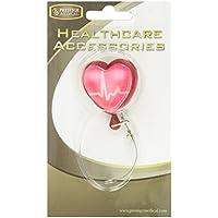 Ncd medical/prestige medical s13 - Ekg retracteze - pinza para tarjeta de identificación con cuerda retráctil, diseño corazón con latido
