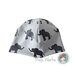 Babymütze Gr. 41-43, Wendemütze hellblau mit grauen Elefanten. Wendeseite Streifen petrol türkis. 95% Baumwolle, 5% Elasthan
