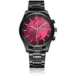 Longqi Men Business Quartz Watch Steel Strap Waterproof Sports Wristwatch