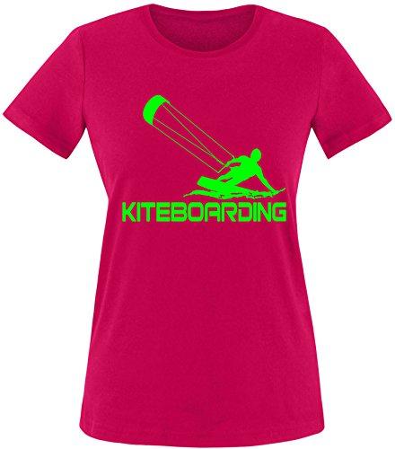 EZYshirt® Kiteboarding Damen Rundhals T-Shirt Sorbet/Neongrün