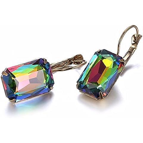 eManco 20 colores Palanca Hacia Atrás Gotas Cristal Pendientes Joyería Mujeres