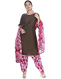 5242fbff37 Hosh South India Shopping Mall Women Brown Solid Cotton Dress Material
