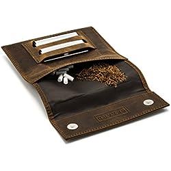 Blague à tabac skaard marron sombre en cuir véritable avec double compartiment pour feuilles et fermeture magnétique