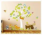 madras24 Wandtattoo Kinder Babyzimmer Aufkleber Eule Eulen Tiere Wandsticker Wand Waldtiere Kinderzimmer Wandaufkleber Dekoration fürs Baby Kindergarten Baum XXL 233 cm x 181 cm