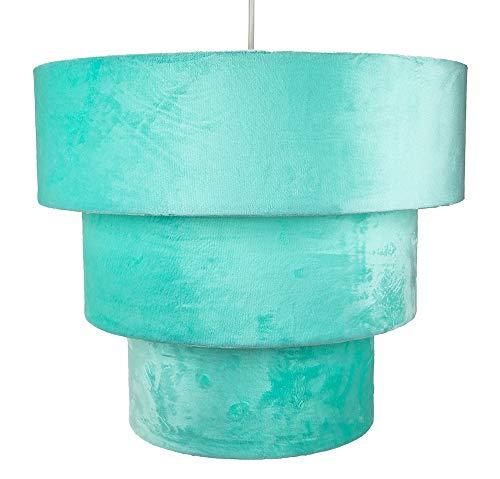 Velours turquoise et daim Mix grand triple couche pendentif abat-jour 40cm de diamètre par Happy Homewares