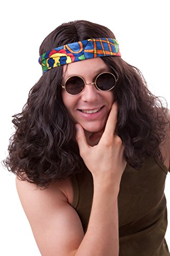 Hippie Perücke für Herren braun 60er 70er Jahre Hippieperücke