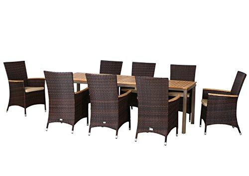 17-teilige XXL Luxus Aluminium Teak Polyrattan Geflecht Gartenmöbelgruppe 'Nashville' , 8 Diningsessel, 8 Auflage und ein Ausziehtisch Geneva 160/260x90, braun - maron (braun schwarz)
