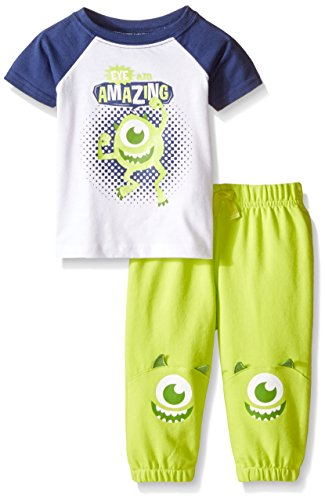 Terry Jog Set (Disney Baby Boys' Monsters Jog Set, Multi/Green, 3-6 Months (Pack of 2))
