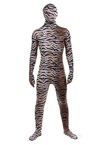 Luxus-Ausgabe: Tiger Druck Lycra Catsuit von Stretchy Suits (Männer: Medium) (Skin Tight Halloween Kostüme)