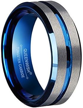 Queenwish 8mm Blau Wolfram Hochzeitsring Silber Gebürstet Matt Gerillt Zentrum Verlobungsring für Paare Schmuck...