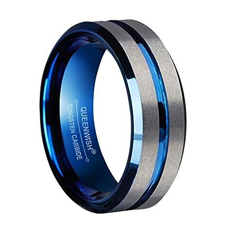 Queenwish 8mm Blau Wolfram Hochzeitsring Silber Gebürstet Matt Gerillt Zentrum Verlobungsring für Paare Schmuck Größe (8,5 Aufkleber)
