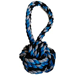 High Quality Tug Rope Toy Dogs Two Knots With Ball *Color May Vary