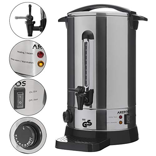 AREBOS Glühweinkocher/Edelstahl/mit Auslasshahn, Thermostat und Überhitzungsschutz/inkl. Auffangschale/Temperatureinstellung von 30-110°C / 20 L