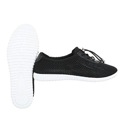 Low-Top Sneaker Damenschuhe Low-Top Luftig Leichte Schnürsenkel Ital-Design Freizeitschuhe Schwarz