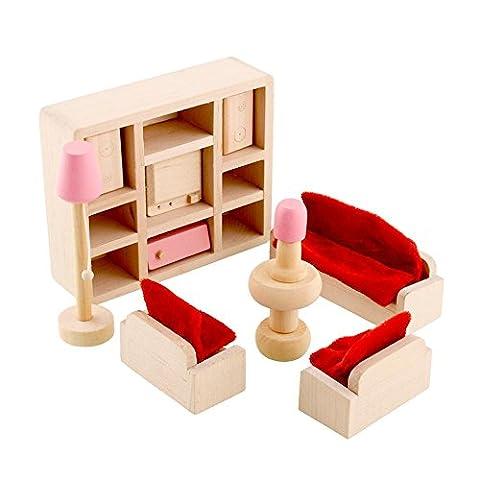 Peradix Minipuppen Holzspielzeug Puppenhaus Holzm?bel Spielzeug Wohnzimmer 14-teillig