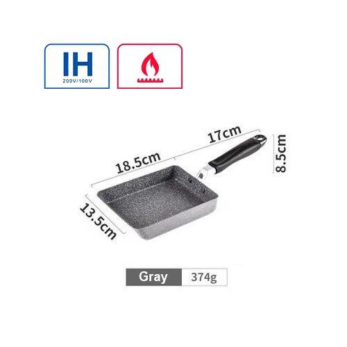 Dlflyp 13X18.5Cm Alliage Aluminium Revêtement Pan Emploi Général Pour Le Gaz Et Cuisinière À Induction Poêle À Crêpes Pan Oeuf Gris,Pot