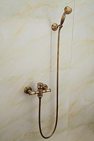 Saejj-antique en cuivre de salle de bain simple rétro en bambou Ensemble de douche Douche Continental Pastoral encastré robinet mitigeur, Doré