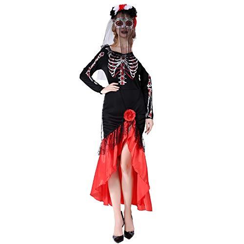 Thermos cup Halloween KostüM Costume Erwachsener Weiblich Horror BeäNgstigend Cosplay Geist Tod Zombie,Ghost Bride