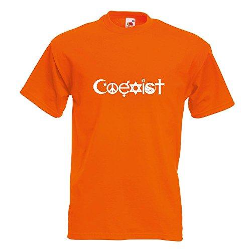 KIWISTAR - Coexist Symbole T-Shirt in 15 verschiedenen Farben - Herren Funshirt bedruckt Design Sprüche Spruch Motive Oberteil Baumwolle Print Größe S M L XL XXL Orange