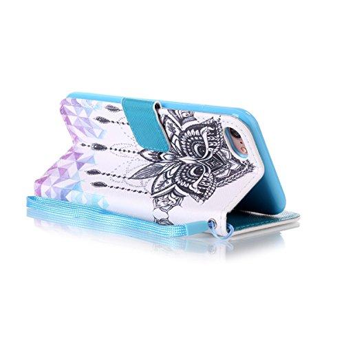 Etsue Handytasche für iPhone 7 (4.7 Zoll) 2016 lila, Brieftasche Hülle für iPhone 7 (4.7 Zoll) 2016 [Mädchen Schmetterling] Muster Lederhülle Handyhülle Einzigartig Flip Hülle Leder Schutzhülle Vintag Eule Augen
