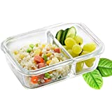 Kurtzy Glass Lunch Tiffin Box Air Tight Meal Container Clip Lid Microwave Safe Kitchen Purpose Food Storage 2 Compartments 1 Piece