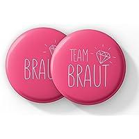 "Junggesellinnenabschied Accessoires – JGA Buttons Set in Pink – Anstecker ""Team Braut"""