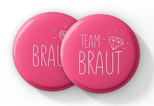"""Spielehelden Junggesellinnenabschied Accessoires – JGA Buttons Set in Pink – Anstecker """"Team Braut"""""""