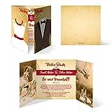 40 x Hochzeit Dankeskarten individuell Foto Text - Braut und Bräutigam Altarfalz in Vintage