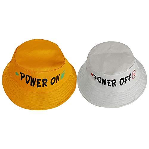 Mode Fischer Eimer Hut für Baby Kinder Brief drucken Sonnencreme Baumwolle Cap(Weiß + Gelb)